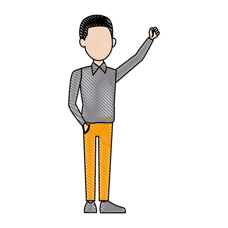 young businessman standing with folded arms suit, tie and shirt vector illustration