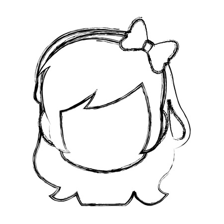 Chibi anime girl avatar contorno por defecto ilustración vectorial Foto de archivo - 80129545