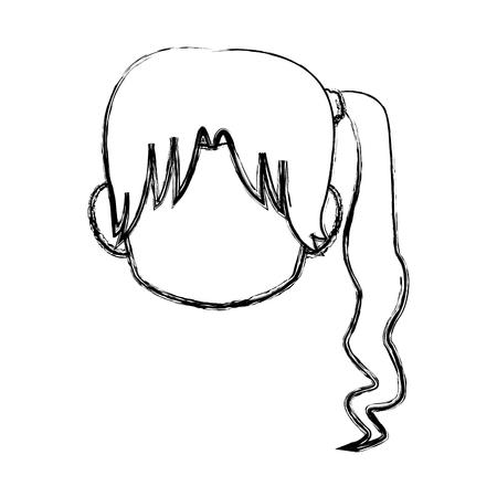 Chibi anime girl avatar contorno por defecto ilustración vectorial Foto de archivo - 80129483