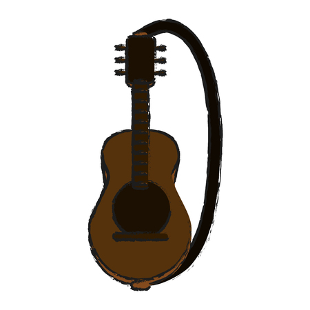 acoustic guitar with strap  icon image vector illustration design  sketch style Illustration