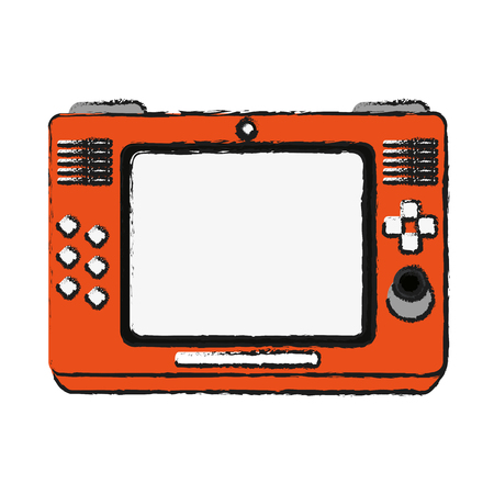 pastime: arcade screen with buttons and joystick videogames related icon image vector illustration design  sketch style Illustration