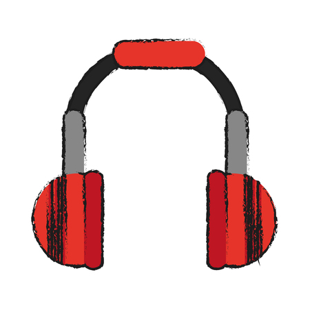 isolated headphones icon image vector illustration design  sketch style