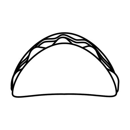 taco fast food icon image vector illustration design  black line