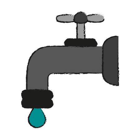 ooze: regular faucet and water droplet  icon image vector illustration design  sketch style