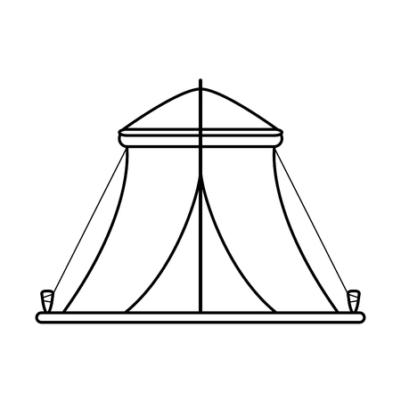 nylon: camping tent icon image vector illustration design  black line