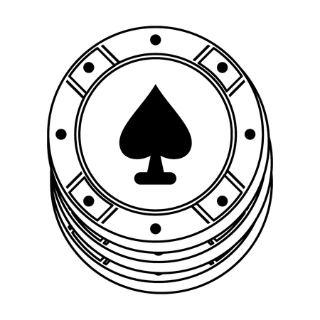 casino chip with ace of spades icon image vector illustration design  black line