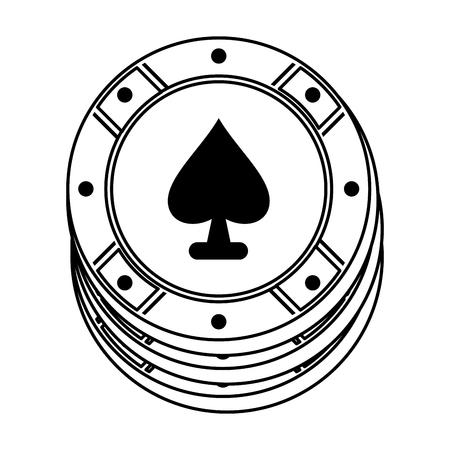 chip del casinò con la linea nera di progettazione dell'illustrazione di vettore di immagine dell'icona di picche dell'asso