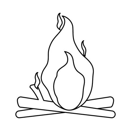 fiery: isolated bonfire icon image vector illustration design  single black line
