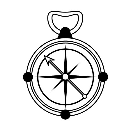 geographical: navigation compass icon image vector illustration design  single black line