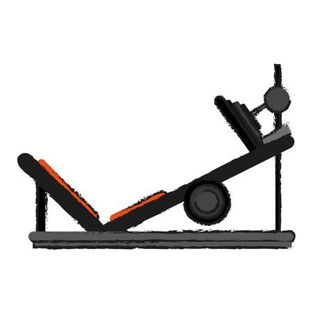 leg press fitness related icon image vector illustration design Illustration