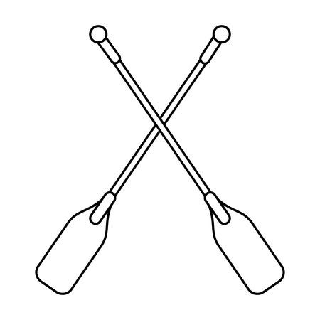 rowboat: boat oars  icon image vector illustration design  single black line Illustration