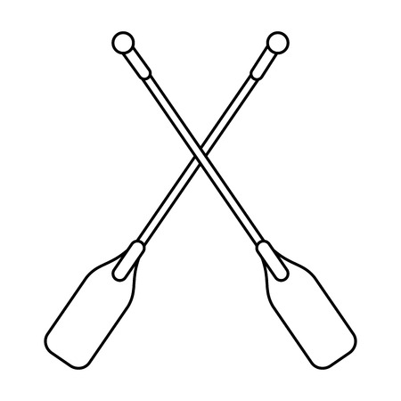 boat oars  icon image vector illustration design  single black line Illustration