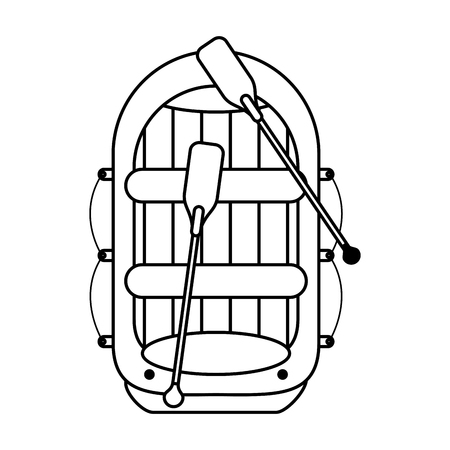 barque: raft with oars boat icon image vector illustration design  single black line Illustration
