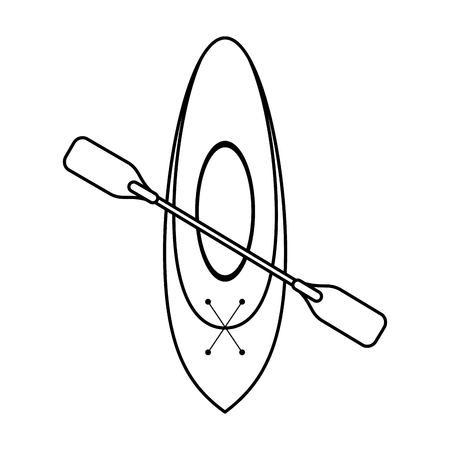 oar and row boat icon image vector illustration design  single black line