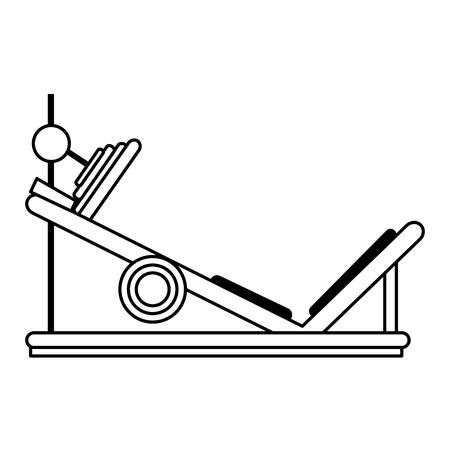 leg press fitness related icon image vector illustration design  single black line Illustration