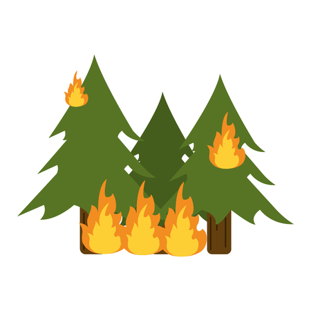 Trees burning in forest icon vector illustration design graphic Illustration