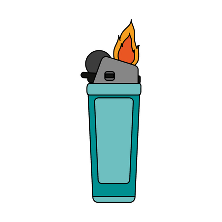 gas lighter: Fire flame lighter icon vector illustration design graphic flat
