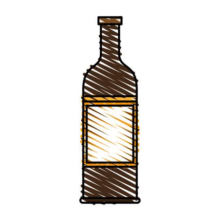 Delicious wine drink bottle icon vector illustration design graphic scribble Illustration