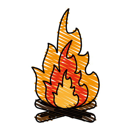 fiery: Hot fire flame icon vector illustration design graphic scribble Illustration