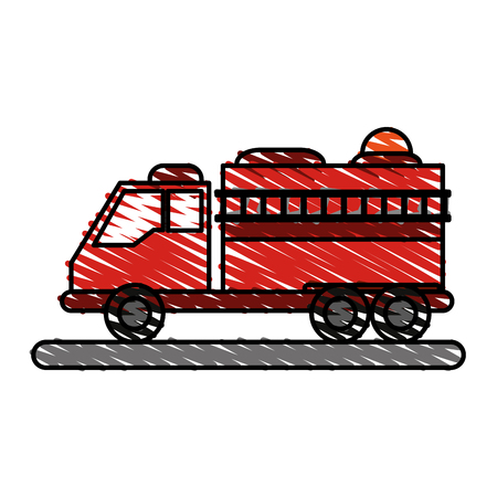 burn out: Fire truck puts out fire illustration vector design icon scribble Illustration