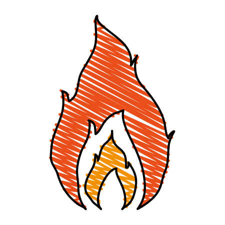 Hot fire flame icon vector illustration design graphic scribble Illustration