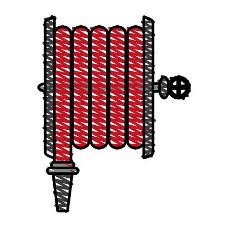 extinguishing: Fire extinguish hose icon vector illustration design graphic scribble Illustration