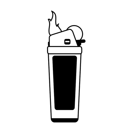 gas lighter: Fire flame lighter icon vector illustration design graphic silhouette