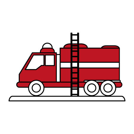 burn out: Fire truck puts out fire illustration vector design icon flat