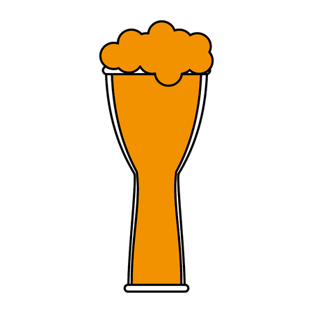 brewed: Beer glass foam illustration icon vector design graphic flat