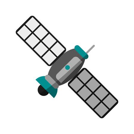 Satelite information world icon vector illustration design graphic shadow
