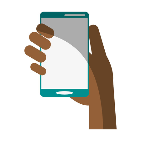 telecommunications equipment: electronic cell phone on icon vector illustration design graphic shadow Illustration