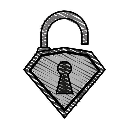 unlocked diamond lock icon vector illustration design graphic doodle Illustration