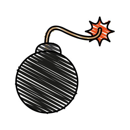 dynamite: carrtoon bomb on fire icon vecotr illustration design graphic doodle Illustration