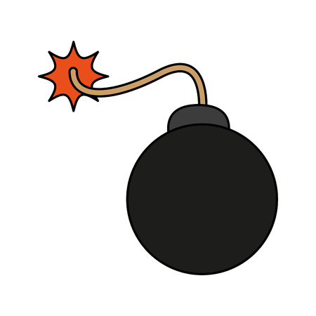 carrtoon bomb on fire icon vecotr illustration design graphic flat