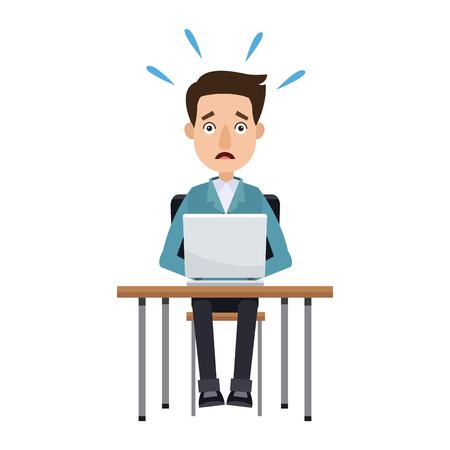 man working at a laptop and worries over the work vector illustration Ilustração