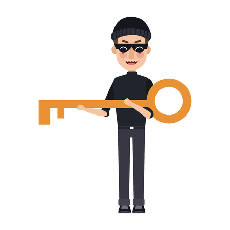 hacker data hold a key security of website online authorization vector illustration Illustration