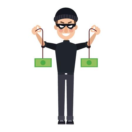 hacker theft hand holding a money vector illustration
