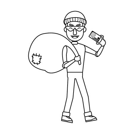 thief stealing money cartoon hacker stealing a bag concept of fraud vector illustration