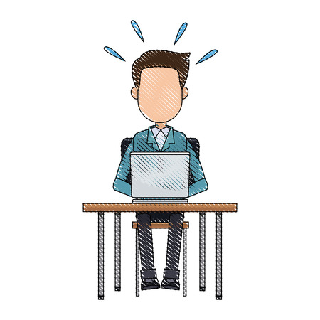 man working at a laptop and worries over the work vector illustration Çizim