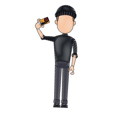 computer hacker man character system thief holding credit card vector illustration Illustration