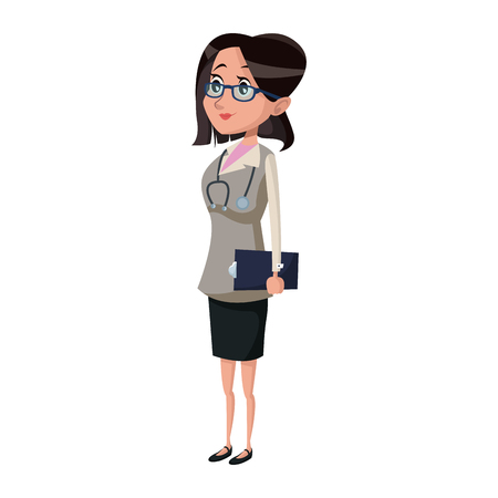 general practitioner: Woman doctor with clipboard. Illustration