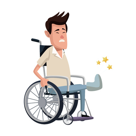 cartoon man sitting wheelchair with fractured leg suffering from pain vector illustration