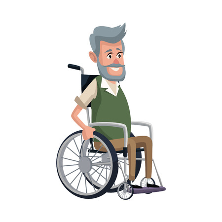 old man character disabled sitting in wheelchair image vector illustration