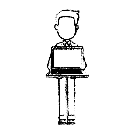 cartoon man standing holding laptop front view vector illustration