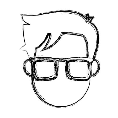 Man visage caractère personnes design plat illustration vectorielle Banque d'images - 80239391