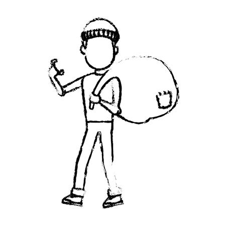 computer hacker man character system thief vector illustration