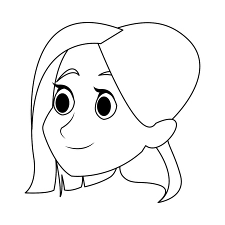 A womans head character caricature image vector illustration