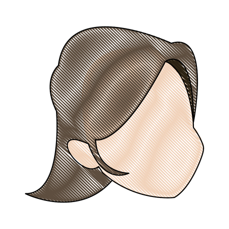 profile woman head character caricature image vector illustration