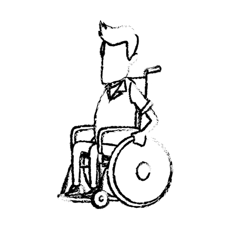 man character disabled sitting in wheelchair image vector illustration Illustration