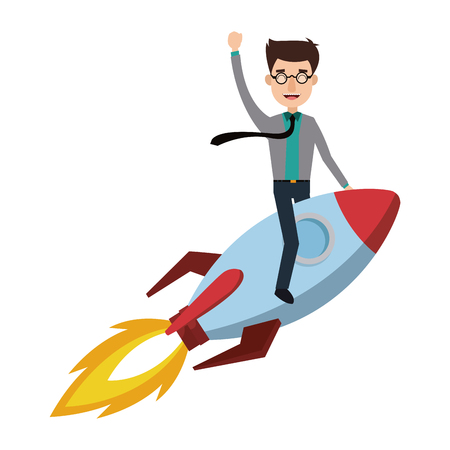 business man rocket ride is the vehicle flying high vector illustration